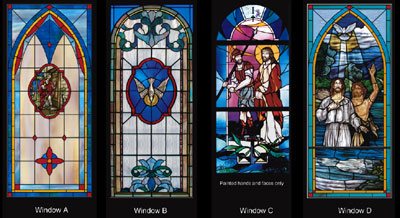 Leaded religious stained glass window styles